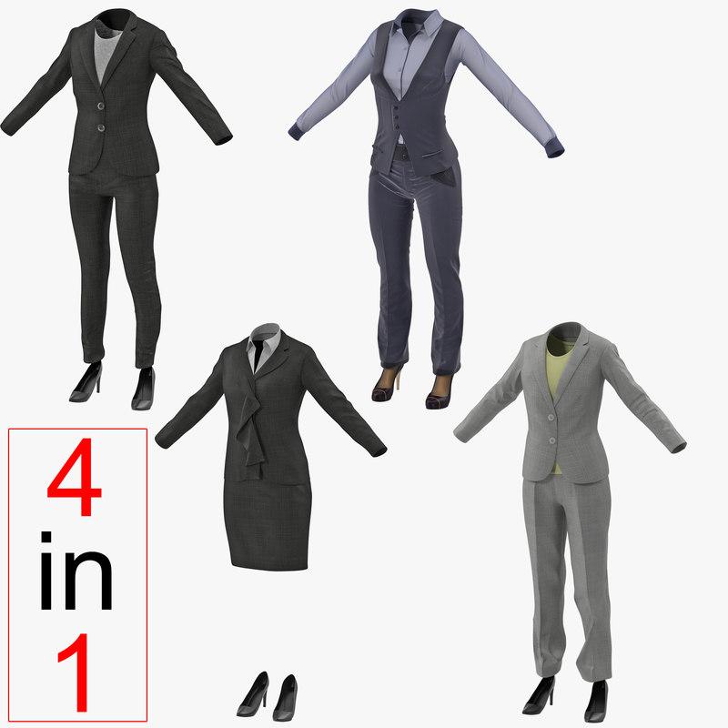3d model women suits 2 modeled