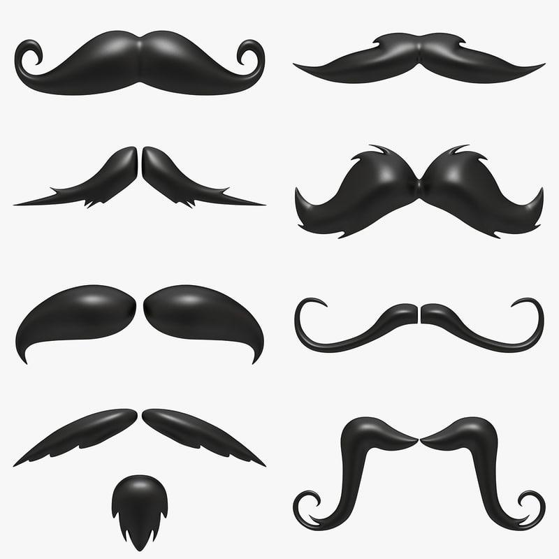 cartoon mustache set 3d max