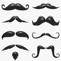 cartoon mustache set 3d max