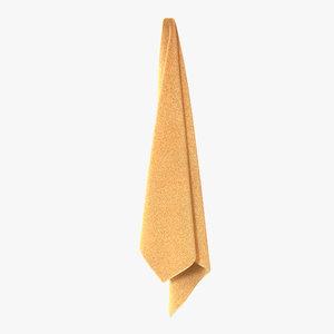 3d model hanging bathroom towel yellow