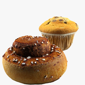 cinnamon roll muffin 3d model