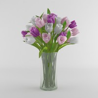 Tulip flower glass vase