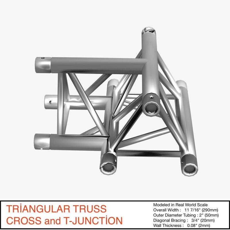 free triangular truss cross t 3d model