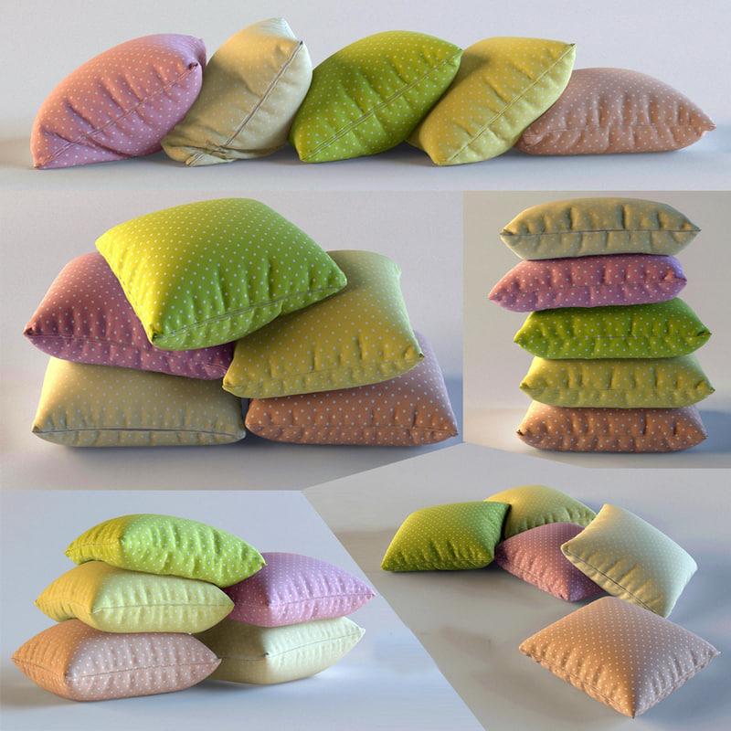 3d model set pillows