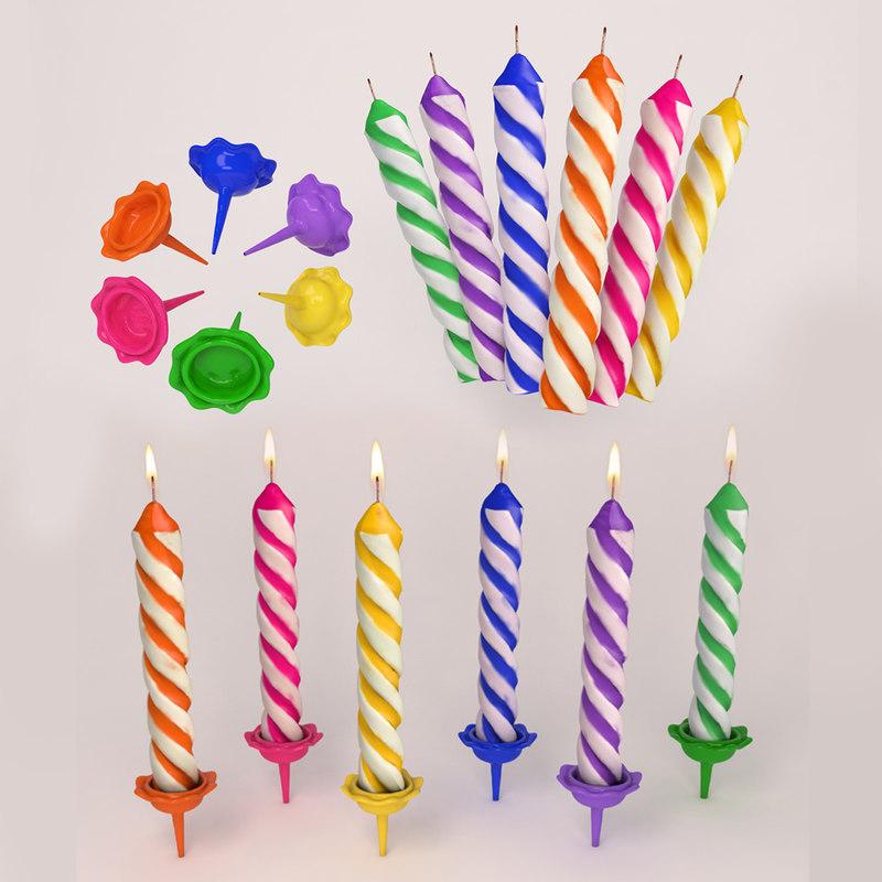 3d birthday candle lighting model