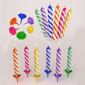 3d birthday candle lighting model