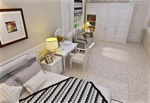 3d model bed bedroom