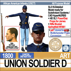 3d civil war union soldier model