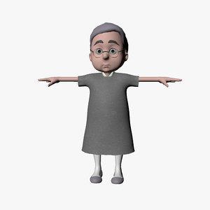 grandmother cartoon 3d model