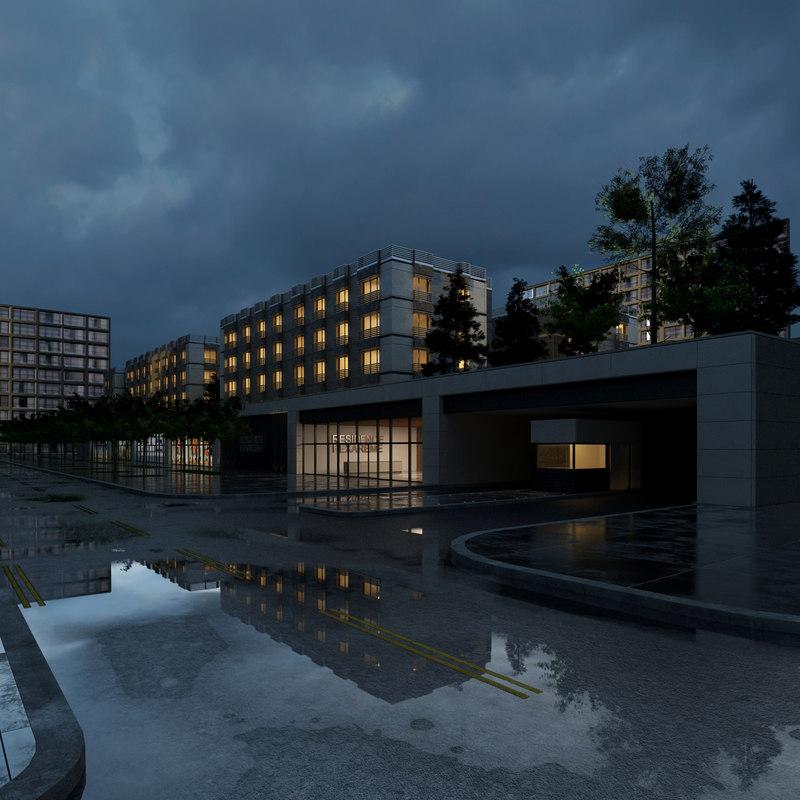 3d model city residential block