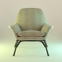 3d obj fabric armchair interior
