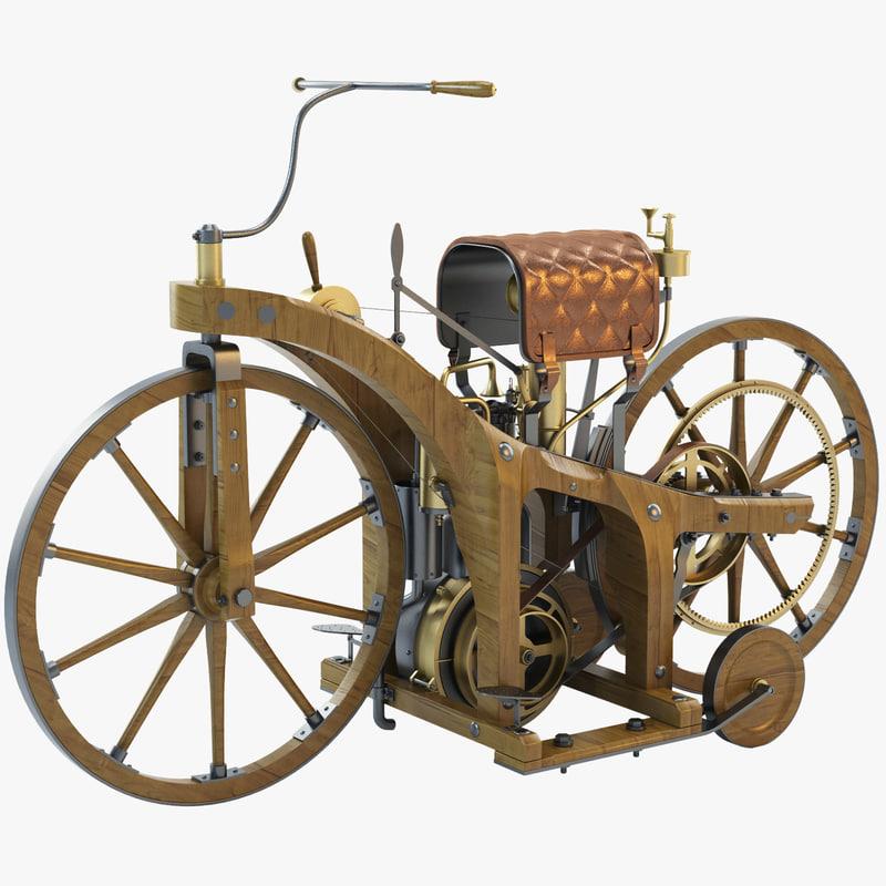 daimler reitwagen motorcycle 1885 3d obj