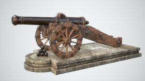 medieval cannon 3d obj
