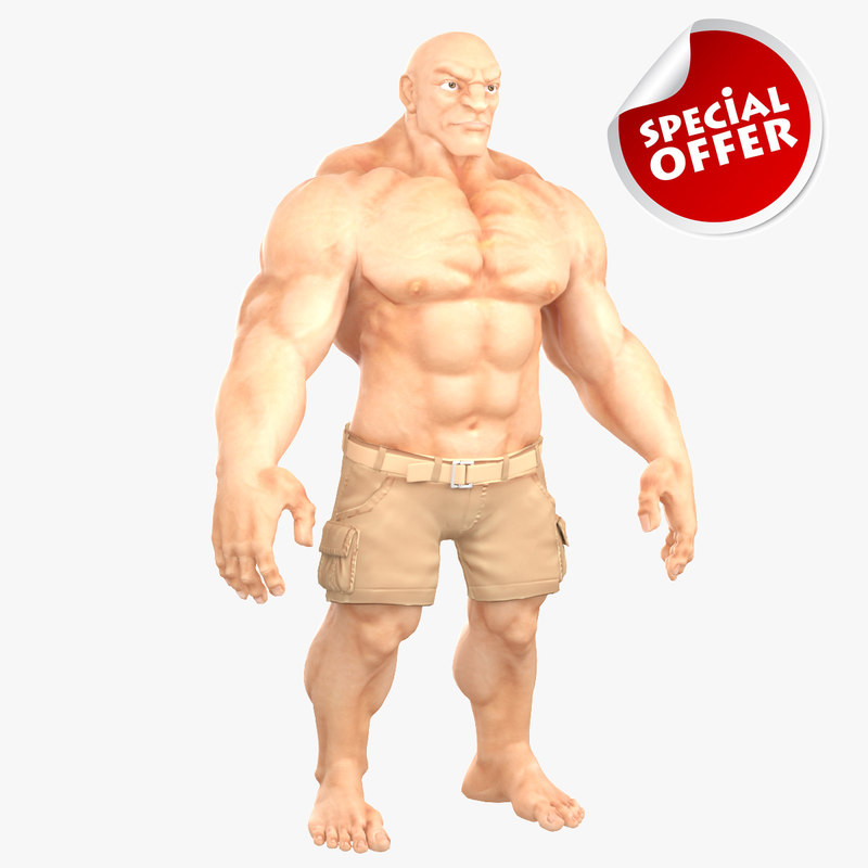 muscular man 1 3d model