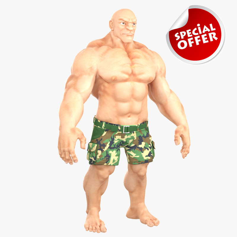 3d model muscular man 2