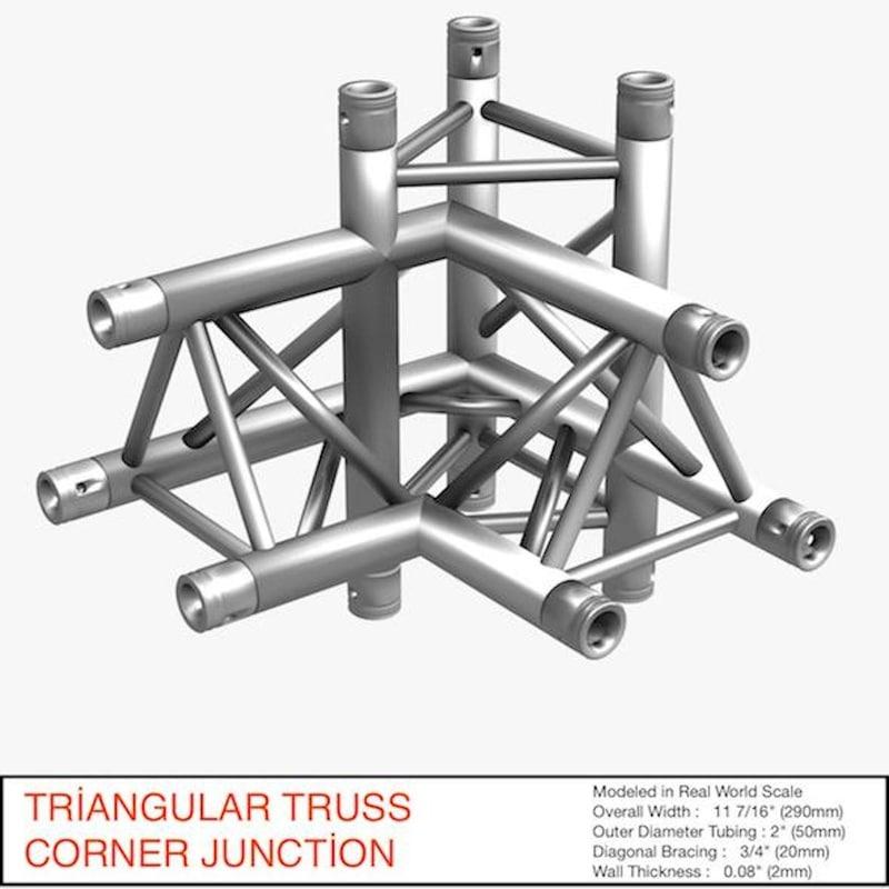 3d model triangular truss corner junction