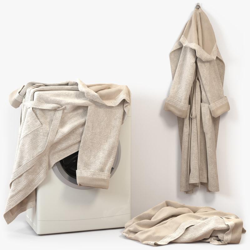 3ds max bathrobe cloth linen