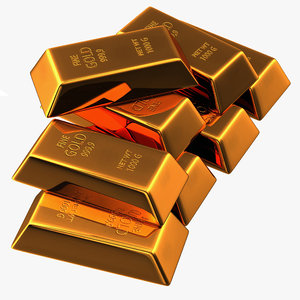 gold bar set 2 3d max