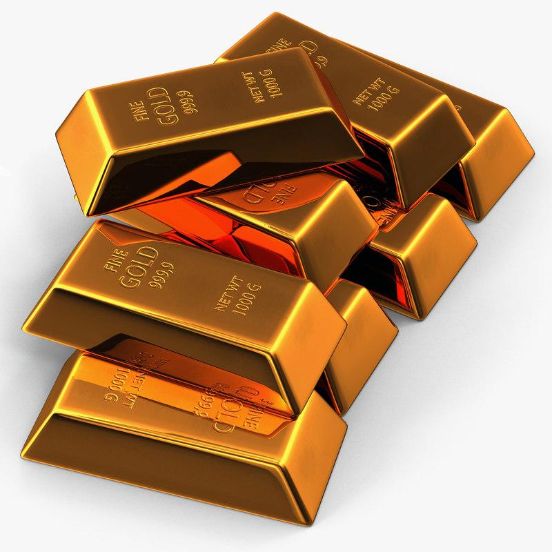 gold bar set 2 3d max