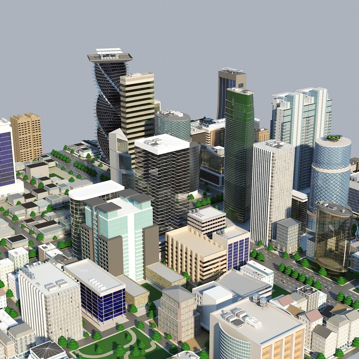 3d max city block cityscapes