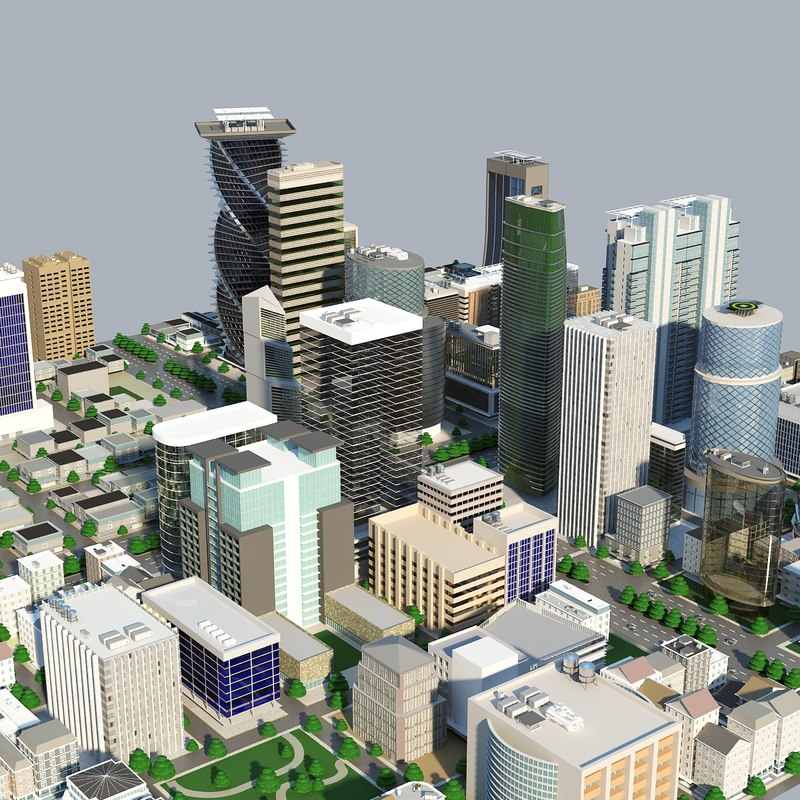 3d max city block cityscapes