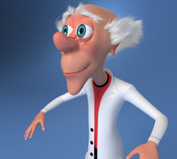 Mad Scientist Cartoon Rigged