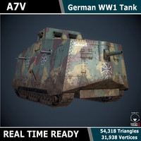 A7V WW1 Tank - Game Ready