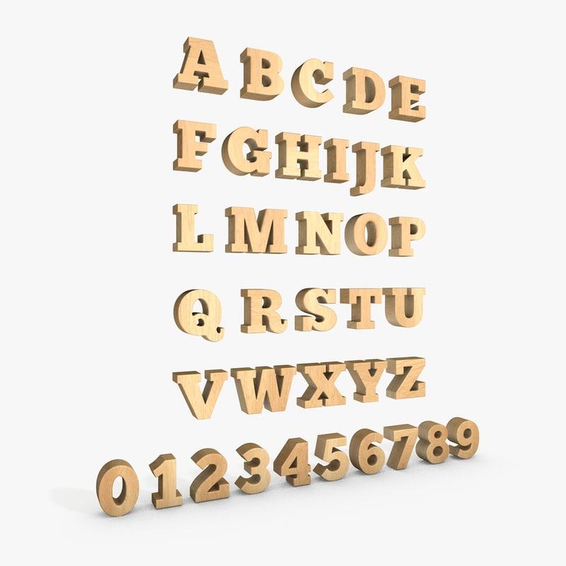 wooden letter number alphabet 3d model