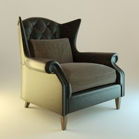 3d obj leather armchair interior