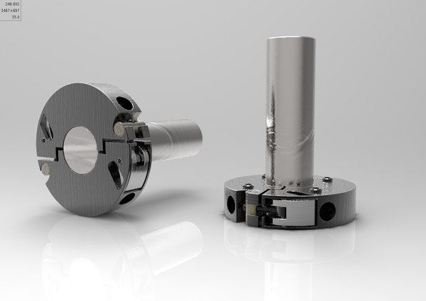 3d model of sectored ring clamp shafts