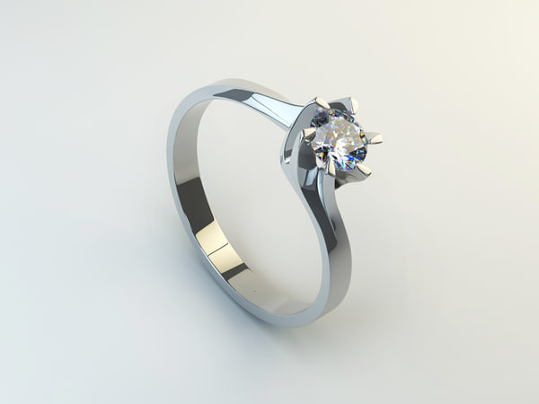 3d ring white gold