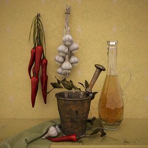 3d model decorative garlic