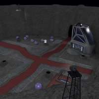 sci-fi space city crater 3d 3ds