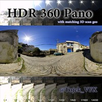 360 hdr pano cobblestone road 3d model