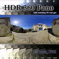 360 hdr pano cobblestone road 3d model