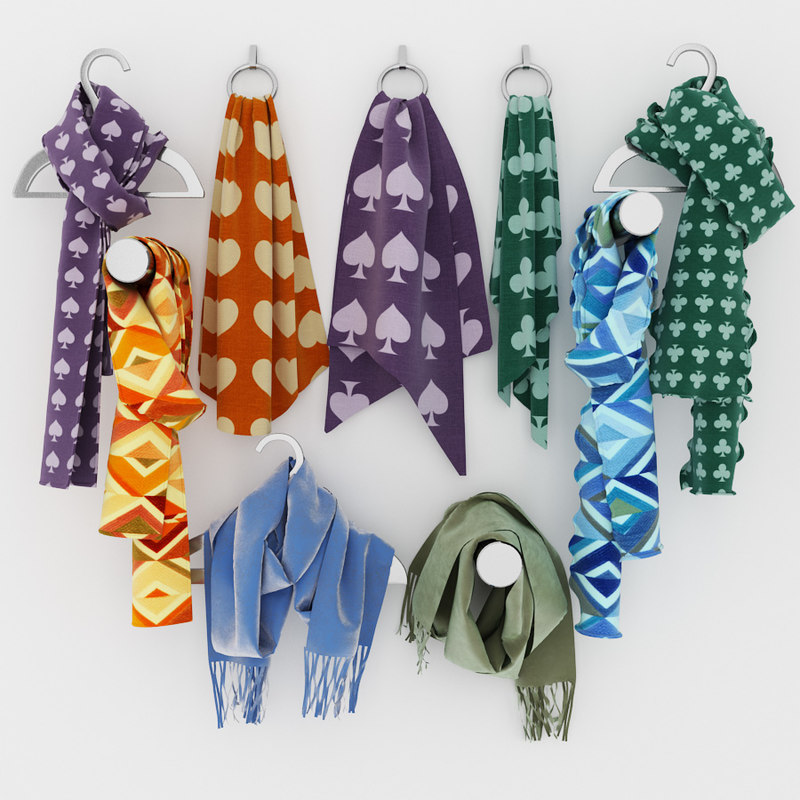 scarves hangers boutiques 3d max
