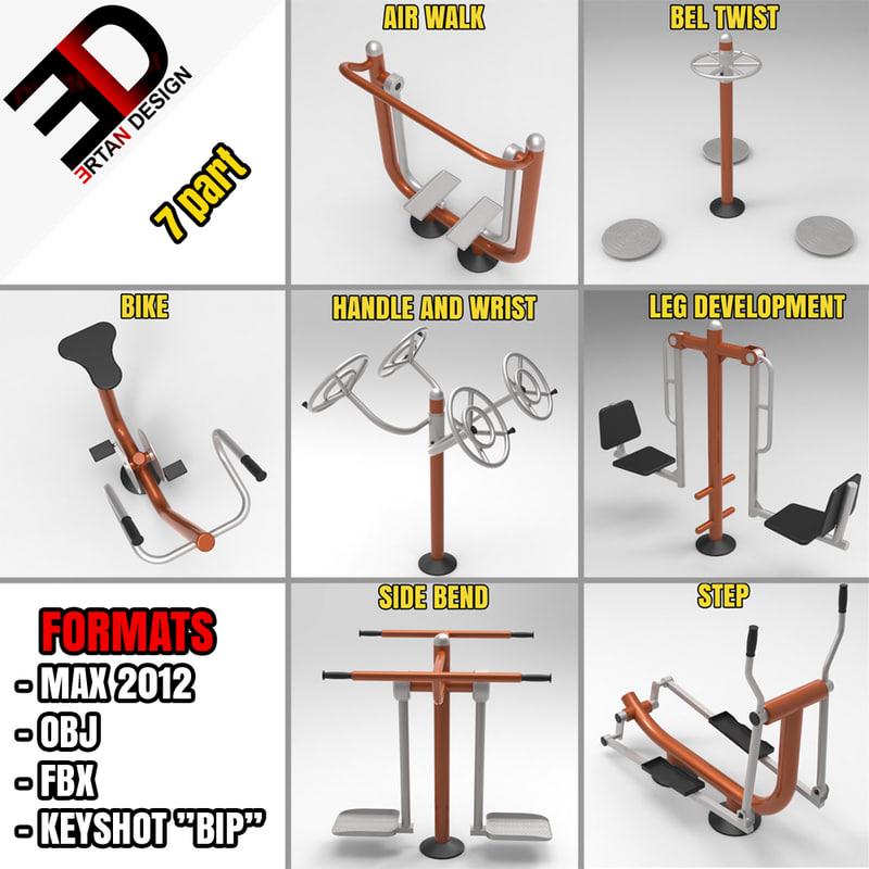 3d outdoor fitness equipment