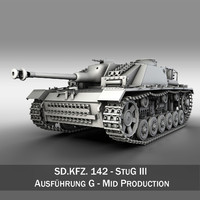 3d model of - iii stug panzer tank