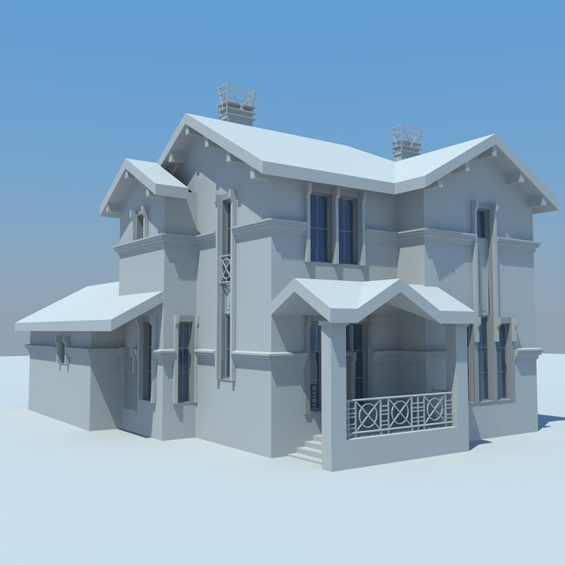 cottage house buildings 3d model