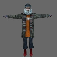 Low Poly Homeless Character