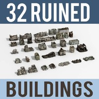 Ruined Damaged Buildings Collection 3