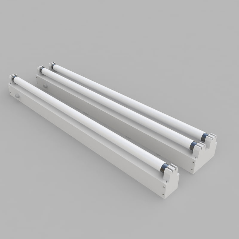 3d fixture strip fluorescent model
