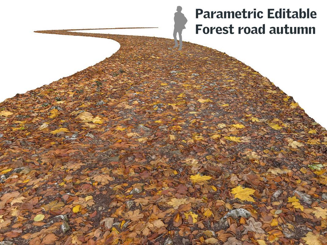 road autumn forest 16k 3d model