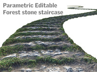 Parametric Editable Forest stone staircase 8K