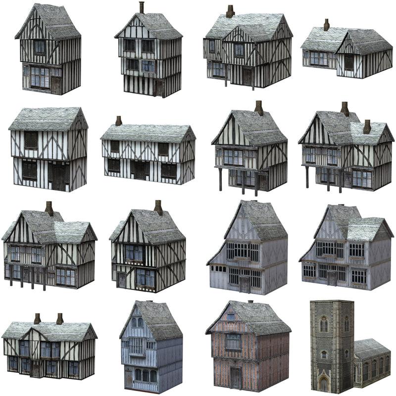 poser set medieval buildings fantasy