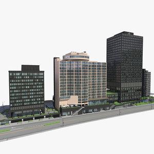 3d block office buildings 5 model