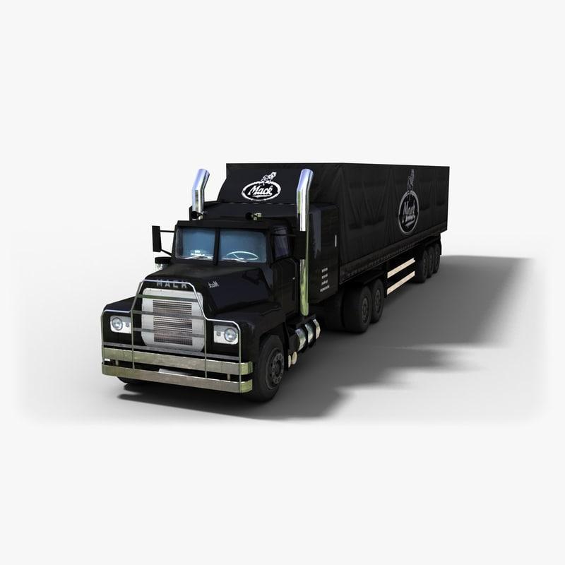 3d mack lst trailer truck model