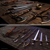 3d model medieval weapons
