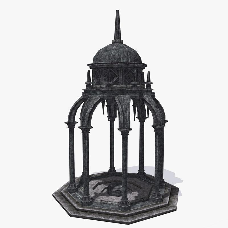 ancient pavilion gothic 3d model
