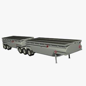 3d b-train combo trailers model